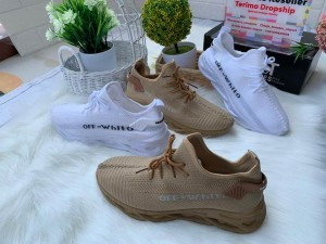 Harga sneakers sepatu pria wanita off white   white   khaki   putih | HARGALOKA.COM