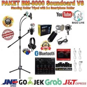Harga paket komplit bm8000 soundcard v8 standing holder 2 x   HARGALOKA.COM