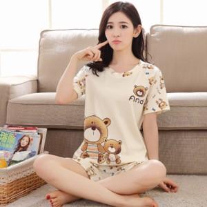 Harga baju tidur cewek piyama wanita lengan pendek premium import   and bear | HARGALOKA.COM