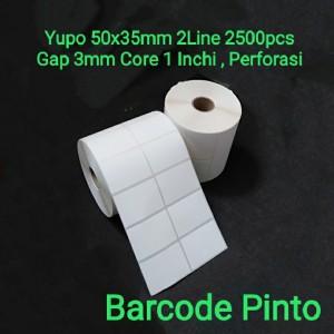 Harga label barcode yupo 50x35mm 2line 2500pcs gap 3mm core 1 inchi | HARGALOKA.COM