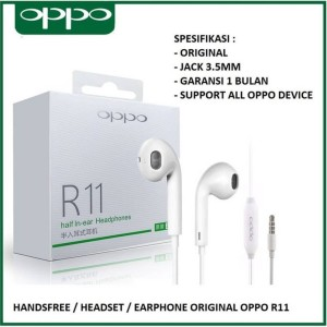 Harga headset earphone oppo a52 a53 a33 original 100 model r11 non karet   | HARGALOKA.COM