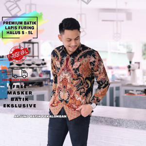 Harga kemeja batik premium pria lengan panjang baju batik pria modern te096   hitam   HARGALOKA.COM