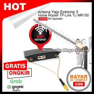 Harga paket antena yagi extreme 3 modem home router tp link tl mr100 4g   economic kabel 15 | HARGALOKA.COM