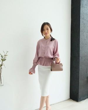 Harga top wanita blouse korean style   bellas long sleeves top   purple | HARGALOKA.COM