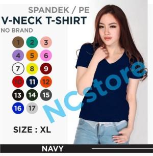 Harga kaos polos wanita v neck size xl atasan wanita kaos uniform   navy | HARGALOKA.COM