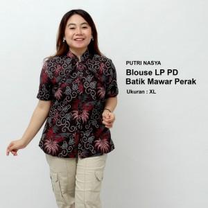 Harga blouse big size batik wanita atasan batik baju kerja big size seragam   | HARGALOKA.COM