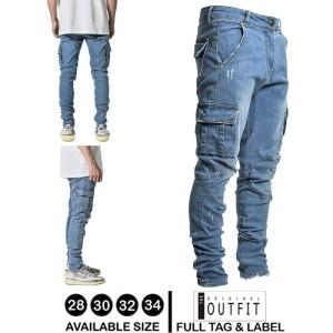 Harga celana jeans panjang stretwear denim cargo pria celana jeans laki laki   bio wash | HARGALOKA.COM