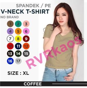 Harga kaos polos wanita v neck size xl atasan wanita kaos   coffee | HARGALOKA.COM