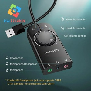 Harga ugreen external usb sound card soundcard audio for komputer desktop   | HARGALOKA.COM