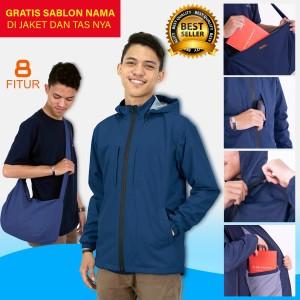 Harga jaket viral bisa jadi tas waterproof windproof anti air dan anti angin   biru tua | HARGALOKA.COM