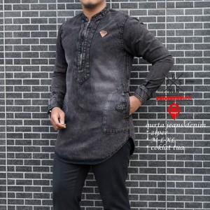 Harga terbaru baju koko kurta pakistan jeans denim original progres man   abu abu | HARGALOKA.COM