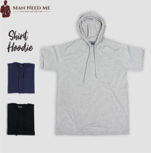 Harga baju kaos polos hoodie lengan pendek   cotton combed 30s   abu abu | HARGALOKA.COM