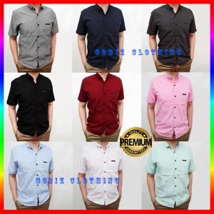 Harga baju kemeja pria lengan pendek cowok premium hem polos casual formal   putih | HARGALOKA.COM