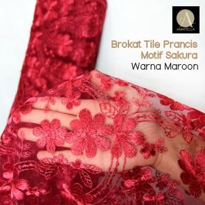 Harga 1 2 meter kain brokat tile prancis motif sakura | HARGALOKA.COM