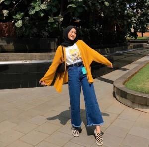 Harga celana kulot jeans boyfriend hight waist rumbai rawis premium   kulot dark | HARGALOKA.COM