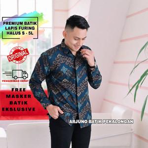 Harga baju kemeja batik pria lengan panjang modern lapis furing halus 004   navy   HARGALOKA.COM