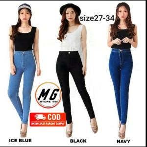 Harga celana panjang highwaist jeans hw long pants girl wanita women denim   pinggang b tua | HARGALOKA.COM