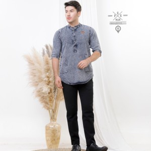 Harga baju muslim pria koko kurta pakistan bahan jeans original progresman   no 6 | HARGALOKA.COM