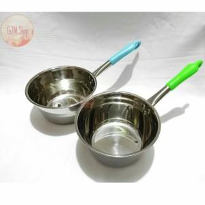 Harga panci susu gagang warna 18 cm panci gantung stainless   biru | HARGALOKA.COM