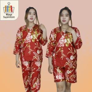 Harga piyama baju tidur wanita dewasa pajamas 3 in 1 kimono motif bunga   rose | HARGALOKA.COM