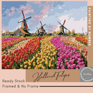 Harga diy painting by number 50x40cm kerajinan tangan lukisan holland tulips   no | HARGALOKA.COM