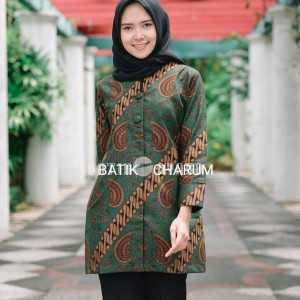 Harga baju batik blouse wanita atasan modern seragam pesta kantor sb02w   | HARGALOKA.COM
