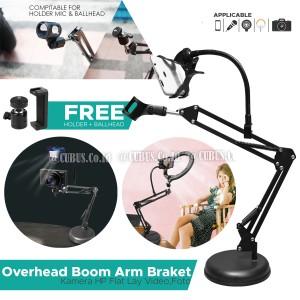 Harga stand mic hp camera led light meja overhead boom arm foto | HARGALOKA.COM