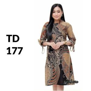 Harga dress baju tunik batik modern batik wanita kerja batik kantor td 177   | HARGALOKA.COM