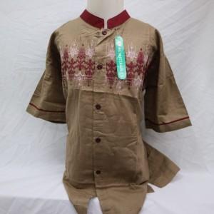 Harga jual baju koko anak atasan muslim laki   laki lengan pendek bordir   cokelat 14 15 | HARGALOKA.COM