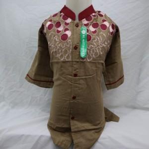Harga dijual murah baju koko atasan anak laki   laki lengan pendek terlaris   cokelat 13 14 | HARGALOKA.COM