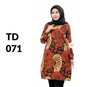 Harga tunik atasan batik solo batik kantor baju batik wanita td 071   | HARGALOKA.COM