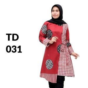 Harga tunik atasan batik solo batik kantor baju batik wanita td 031   | HARGALOKA.COM