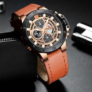 Harga jam tangan pria naviforce 9159 original crono aktif tali coklat | HARGALOKA.COM