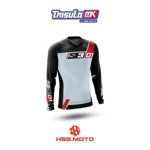 Harga baju jersey trail s3 enduro shirt collection 01   grey red   | HARGALOKA.COM