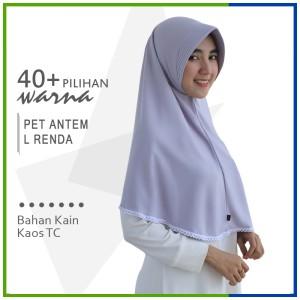 Harga jilbab instan pet antem renda l hijab kaos bergo pet renda size | HARGALOKA.COM