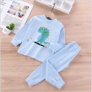 Harga setelan baju tidur piyama anak lengan celana panjang motif lucu   iglo   biru dino   HARGALOKA.COM