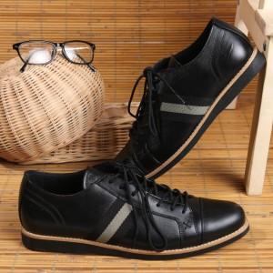 Harga sepatu pria kulit asli cocok untuk kerja dan santai boston allen   hitam   HARGALOKA.COM
