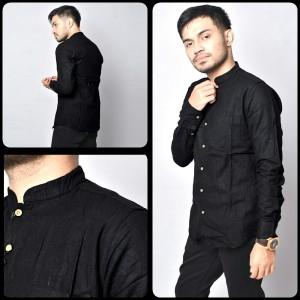 Harga kemeja panjang hitam polos pria kerah sanghai   baju hem formal casual   | HARGALOKA.COM