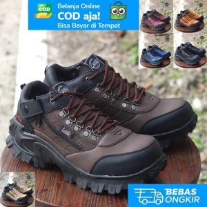 Harga sepatu safety pria kulit premium full jahit tahan lama lavio e95   cokelat   HARGALOKA.COM