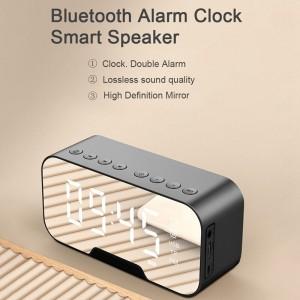 Harga jam meja digital alarm bluetooth speaker mirror display   | HARGALOKA.COM