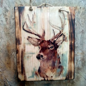 Harga lukisan kayu hewan rusa kijang keberuntungan hiasan cafe resto | HARGALOKA.COM