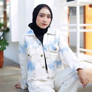 Harga jaket jeans wanita ripped sobek baju levis cewek casual original keren   seperti | HARGALOKA.COM