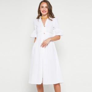 Harga nigu midi dress in white travel party dress baju pesta pantai jalan   s | HARGALOKA.COM