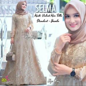 Harga baju muslim wanita gamis cewek modern atasan dress brokat busui jumbo   cream | HARGALOKA.COM