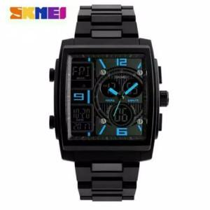 Harga jam tangan pria digital analog skmei 1274 black water resistant 50m   hitam | HARGALOKA.COM
