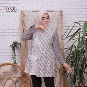 Harga baju wanita blouse kombinasi batik soft terbaru   abu abu | HARGALOKA.COM