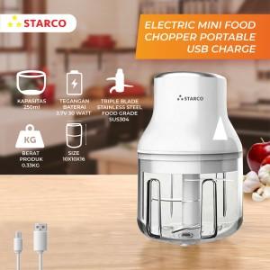 Harga starco portable food chopper mini chopper usb charge 250 ml   merah | HARGALOKA.COM