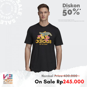 Harga kaos adidas original pria t shirt athletics graphic hitam   | HARGALOKA.COM