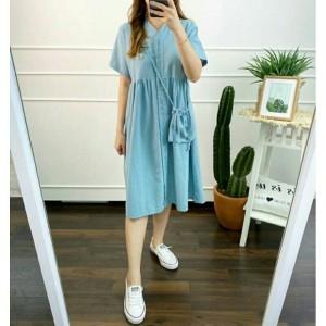 Harga korean button midi dress busui friendly dress | HARGALOKA.COM