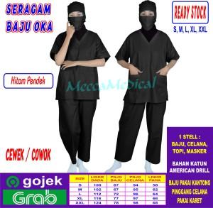 Harga baju oka seragam oka baju jaga cowok amp cewek lengan pendek ready   hitam | HARGALOKA.COM